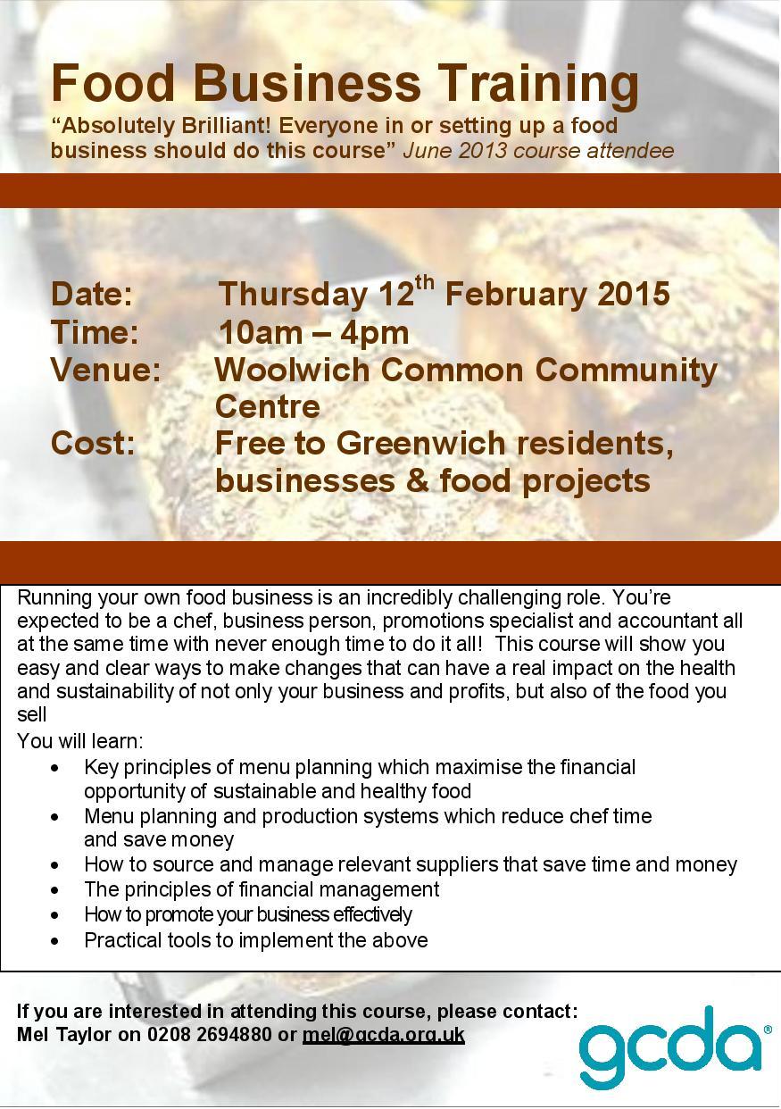 Free food business training for Greenwich residents - GCDA