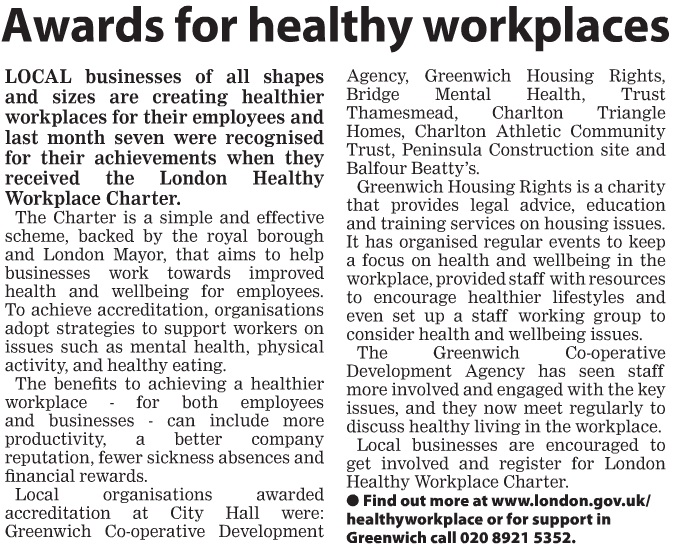 Greenwich Times awards for healthy workplces